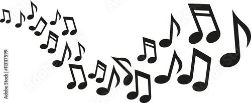 Fotografie, Obraz  Music notes wave