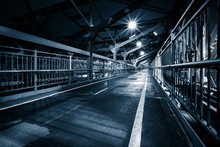 Moody Monochrome View Of Williamsburg Bridge Pedestrian Walkway By Night In New York City