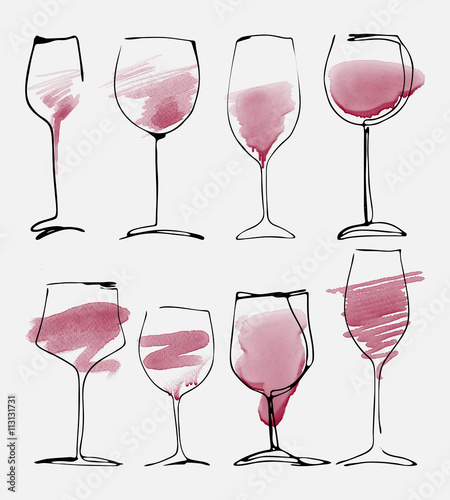 Wine glass set - collection sketched watercolor wineglasses and silhouette Fotobehang