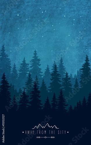 dekoracje-lesne-sylwetka-las-przy-nocnym-niebem-inspirujacy-cytat-do-odpoczy