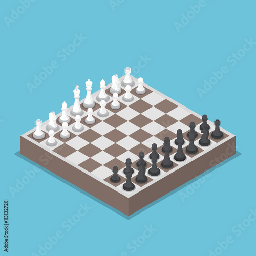 Vászonkép Isometric chess piece or chessmen with board