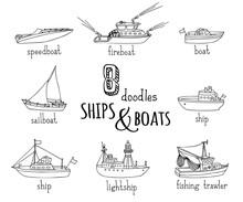 Vector Doodles Nautical Vessel...
