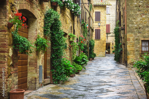 Canvas Prints Narrow alley Flowery streets on a rainy spring day in a small magical village