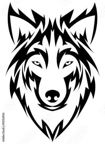 Fototapety, obrazy: Beautiful wolf tattoo.Vector wolf's head as a design element on isolated background
