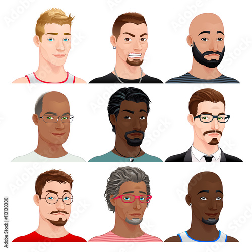 Poster Chambre d enfant Different male avatars
