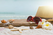 Summer concept with sandy beach, shells