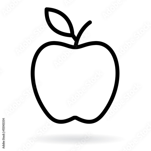 Apple Line Drawing Apple Black Silhouette Vector Illustration Buy This Stock Vector And Explore Similar Vectors At Adobe Stock Adobe Stock