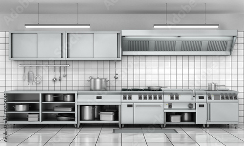professional kitchen facade view surface in stainless steel - Professional Kitchen