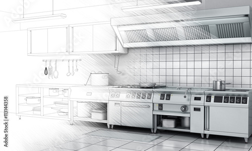 Fotografia  Professional kitchen and equipment on surface half-painted. View