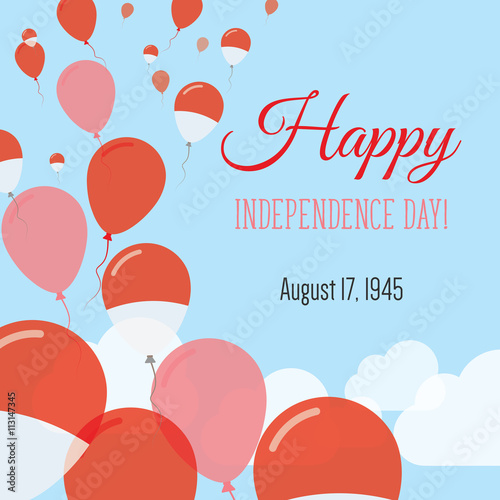 Independence day flat greeting card indonesia independence day independence day flat greeting card indonesia independence day indonesian flag balloons patriotic poster m4hsunfo