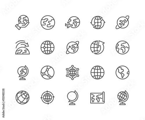Line Globe Icons