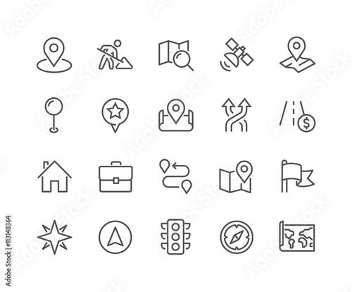 Fotomural  Line Navigation Icons