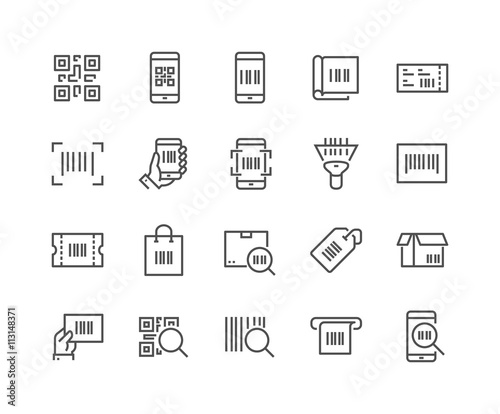 Line QR Code Icons Canvas-taulu