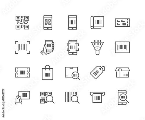 Fotografie, Obraz  Line QR Code Icons
