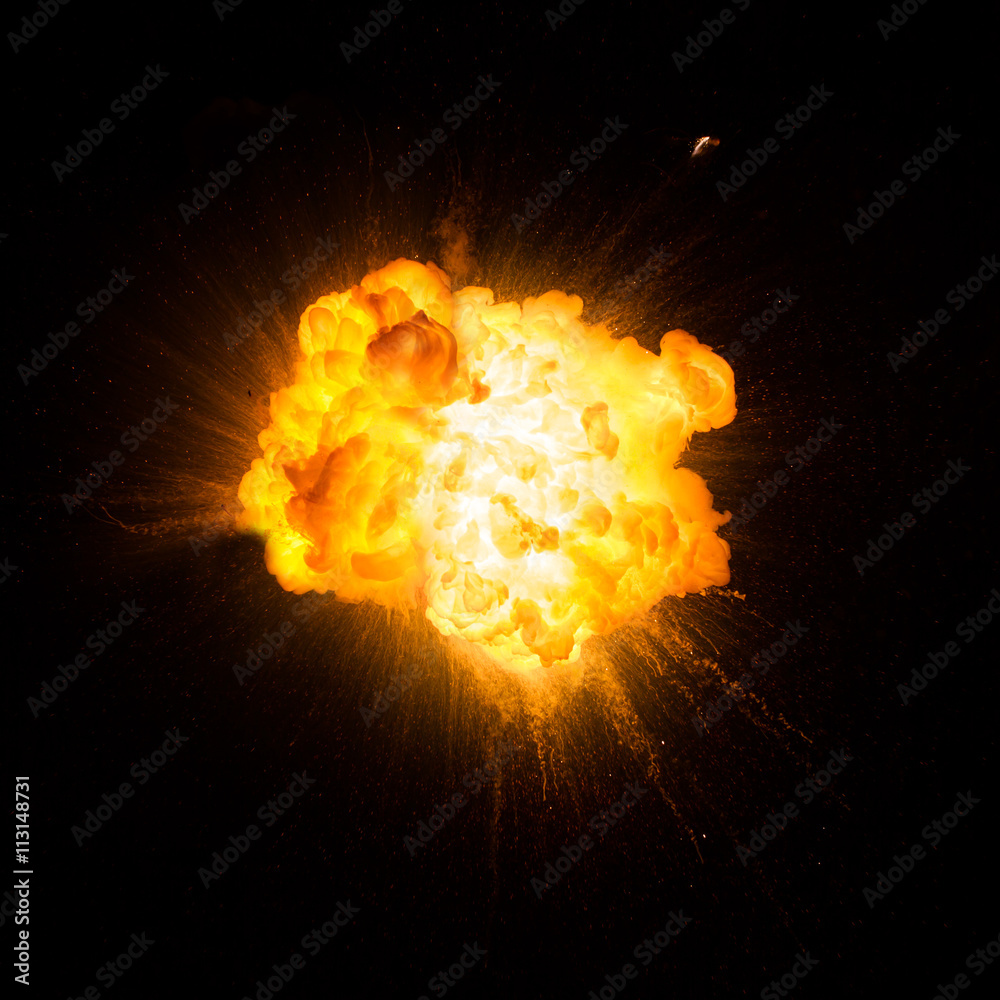 Fototapety, obrazy: Realistic fiery explosion over a black background