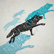 Vector Wolves In Abstract Comp...
