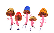 Watercolor Mushrooms Dance