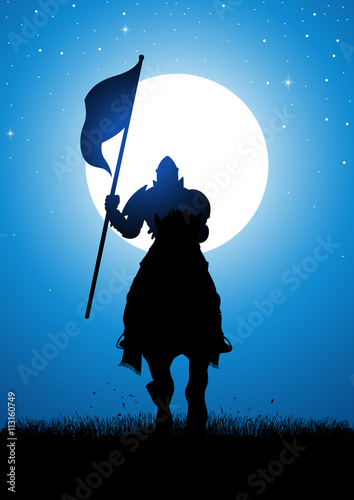 Plakat Rycerz z flagą
