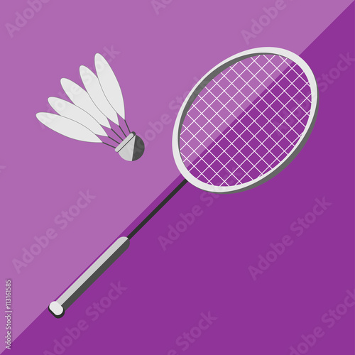 Photo  Racket and shuttlecock badminton on a bicolor background