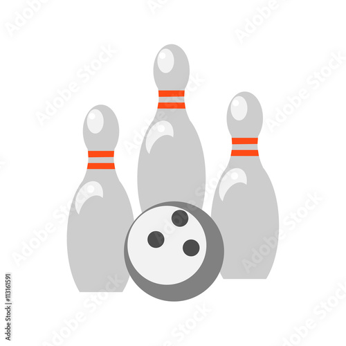 Skittles and bowling ball on white background. Picture style flat Canvas Print