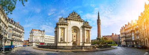 Wall Murals Northern Europe View of french city Lille with belfry, council hall and Paris' gate