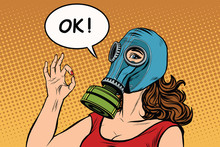 Young Woman In Gas Mask Okay G...