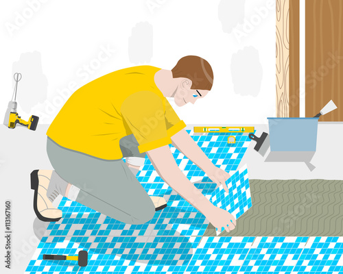 Fototapety, obrazy: Worker builder places the floor tiles in the bathroom. Vector illustration