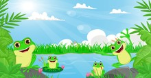 Illustration Of Many Frog Play...