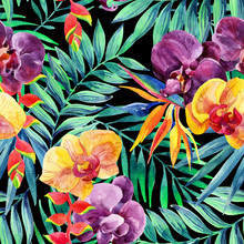 Watercolor Tropical Leaves And Flowers Seamless Pattern.