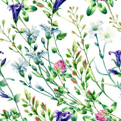 Fototapeta Do baru Watercolor wild flowers seamless pattern.