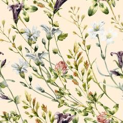 FototapetaWatercolor wild flowers seamless pattern.