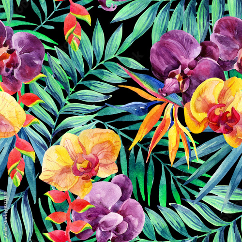 watercolor-tropical-leaves-and-flowers-seamless-pa