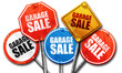 canvas print picture - garage sale, 3D rendering, street signs