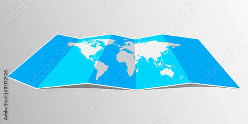 Folded maps vector world map flat design buy this stock vector folded maps vector world map flat design gumiabroncs Gallery