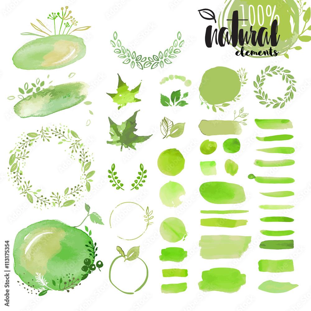 Zestaw ręcznie rysowane akwarela naturalne elementy, szczotki, Wianki, wstążki, ramki, ozdoby, wzór i tło. Wektorowe ilustracje dla grafiki i sieci projekta.