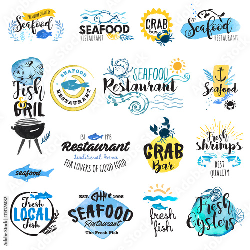 Photo  Set of hand drawn watercolor labels and badges of seafood