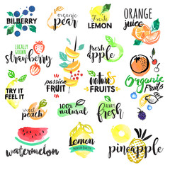 Panel Szklany Owoce Set of hand drawn watercolor labels and stickers of fruit. Vector illustrations for graphic and web design, for food and drink, restaurant and bar, menu, fruit market, organic fruits.