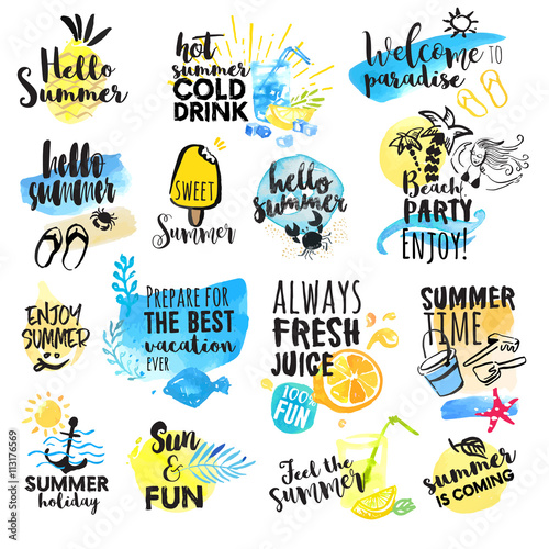 Set Of Hand Drawn Watercolor Summer Signs Vector Illustrations For Holiday Travel Agency