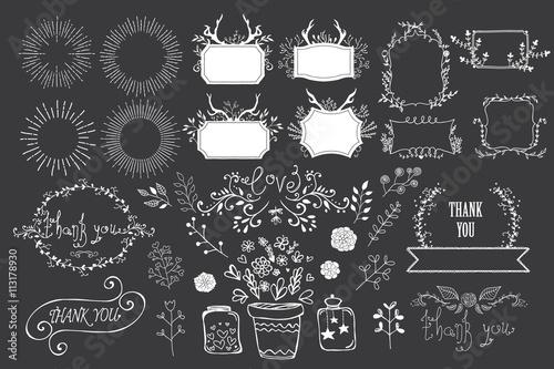 Fotografía  Hand drawn flourishes garden set. Vector design elements
