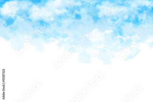 Watercolor Style Digital Artwork The White Cloud And Blue Sky Letter Mail Color Paper Texture