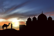 Silhouette Man Praying With Camel Outside The Mosque