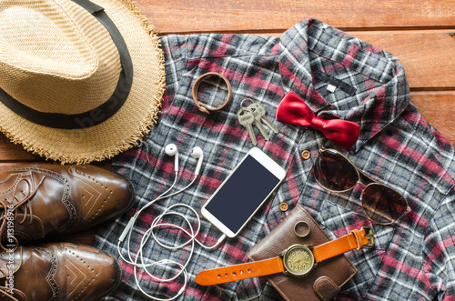 Stampe  Accessories and apparel for men on a wooden floor - life style