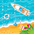 Top view motor yacht. Beach rest. Summer vacation. Time to travel. Sea, waves, sand and umbrella, palm. Vector design background and objects illustrations