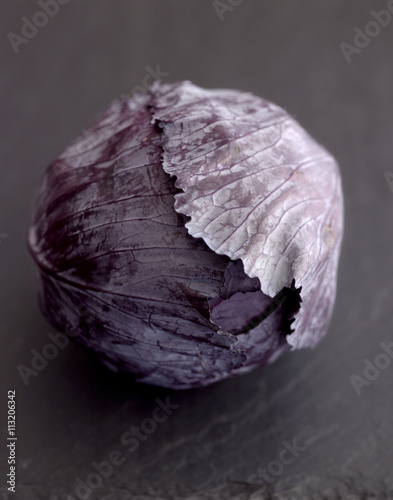 Close-up of purple cabbage on table Plakat