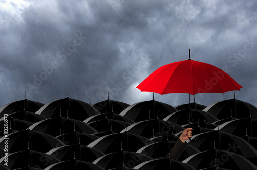 Red umbrella in Storm.