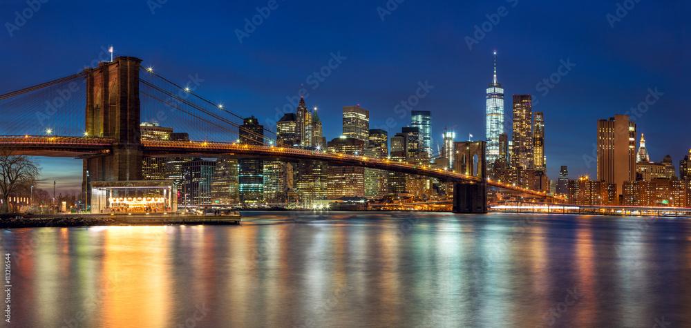 New York - Panoramic view of Manhattan Skyline with skyscrapers