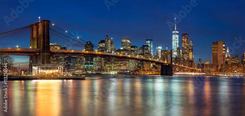 Printed kitchen splashbacks Brooklyn Bridge New York - Panoramic view of Manhattan Skyline with skyscrapers