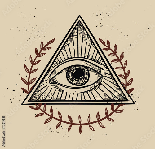 Fényképezés  Hand drawn vector illustration - All seeing eye pyramid symbol.