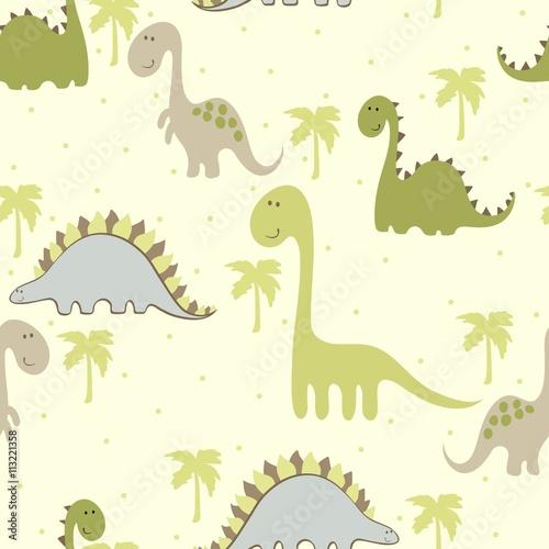 Cotton fabric vector art seamless pattern with Cartoon dinosaur