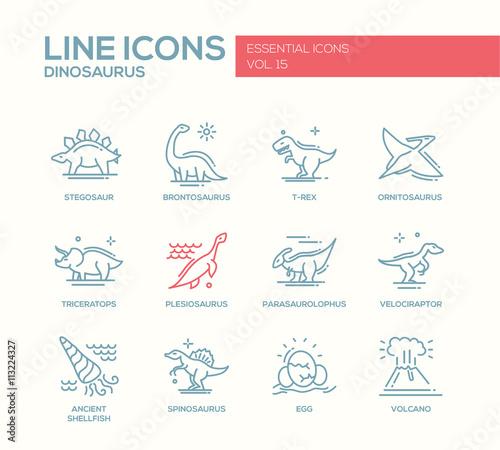 Photo  Dinosaurs species- line design icons set